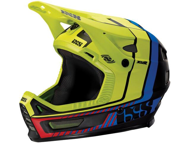 IXS Xult Cykelhjelm, black/blue/lime